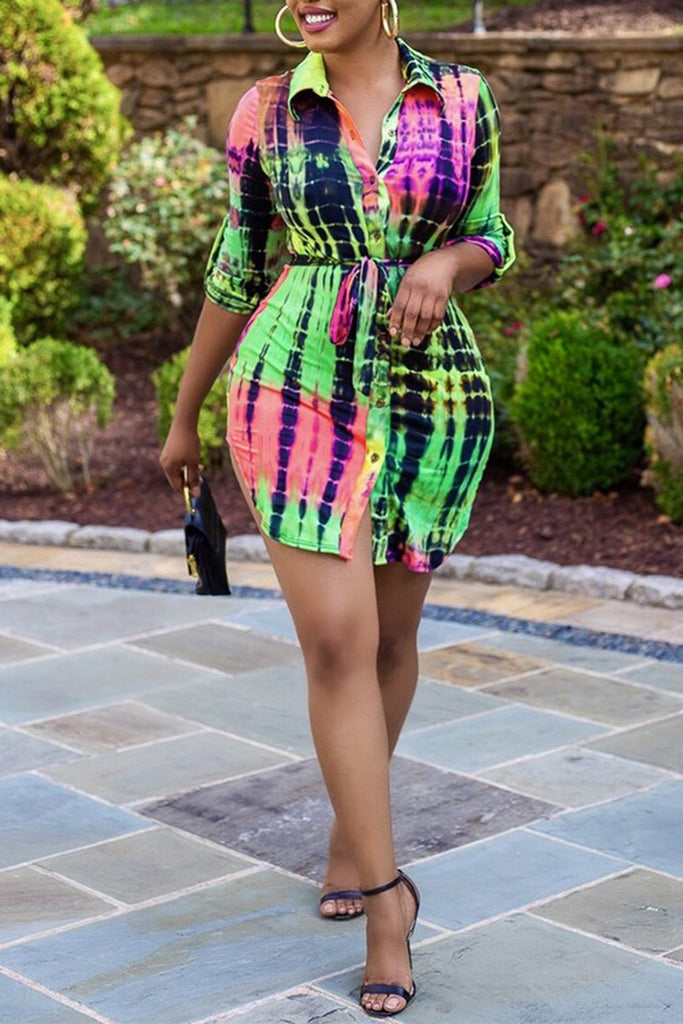 Colorful Printed Turndown Collar Dress With Belt