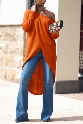 Slash Round Neck Solid Color Long Sleeve Blouse