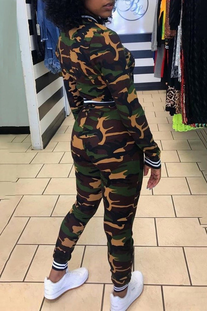 Camouflage Print Zipper Up Casual Two Piece Sets