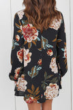 Flower Printed V-neck Casual Top - WHATWEARS