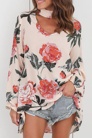 Flower Printed V-neck Casual Top фото