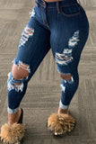 High Waist Denim Hole Distressed Pants