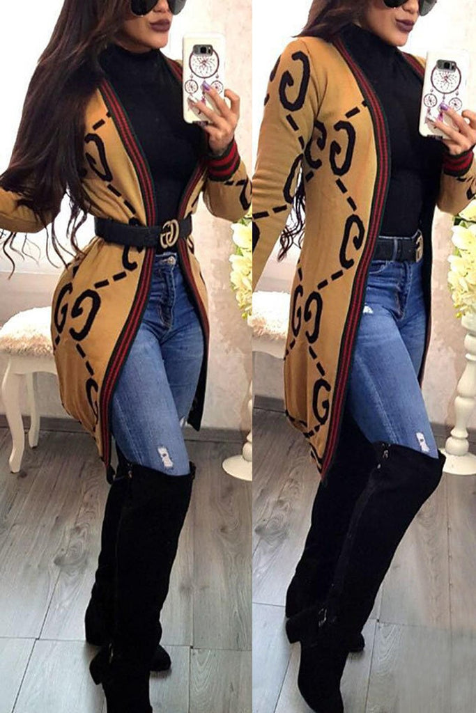 Geometric Print Long Sleeve Cardigan Without Belt