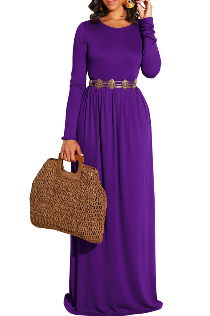 Solid Color Long Sleeve Round Neck Maxi Dress
