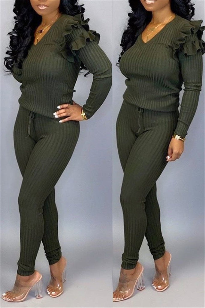 Fungus Edge Plus Size Casual Two Piece Sets