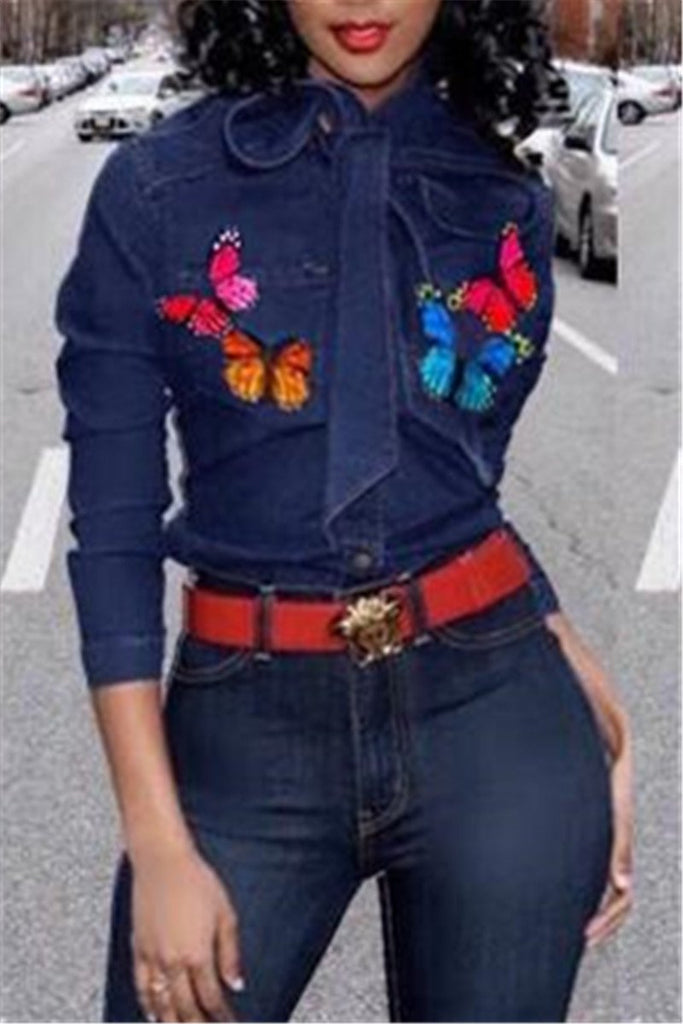 Butterfly Patchwork Bow Neck Denim Shirt