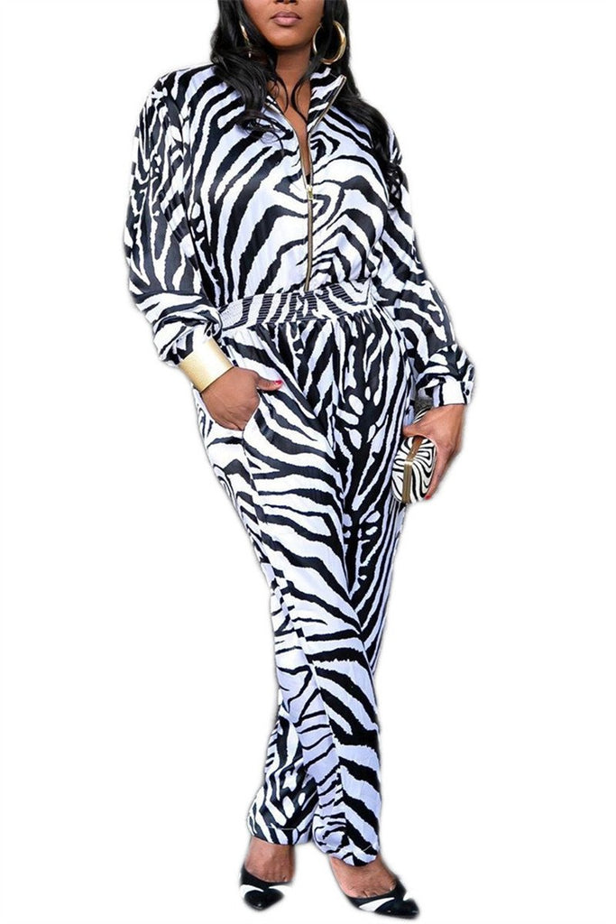 Zebra Print Zip Up Casual Jumpsuit