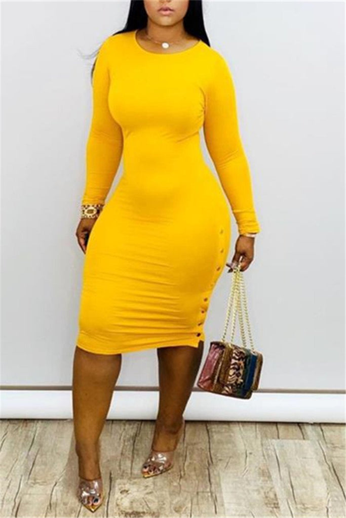 Side Button Solid Color Long Sleeve Midi Dress