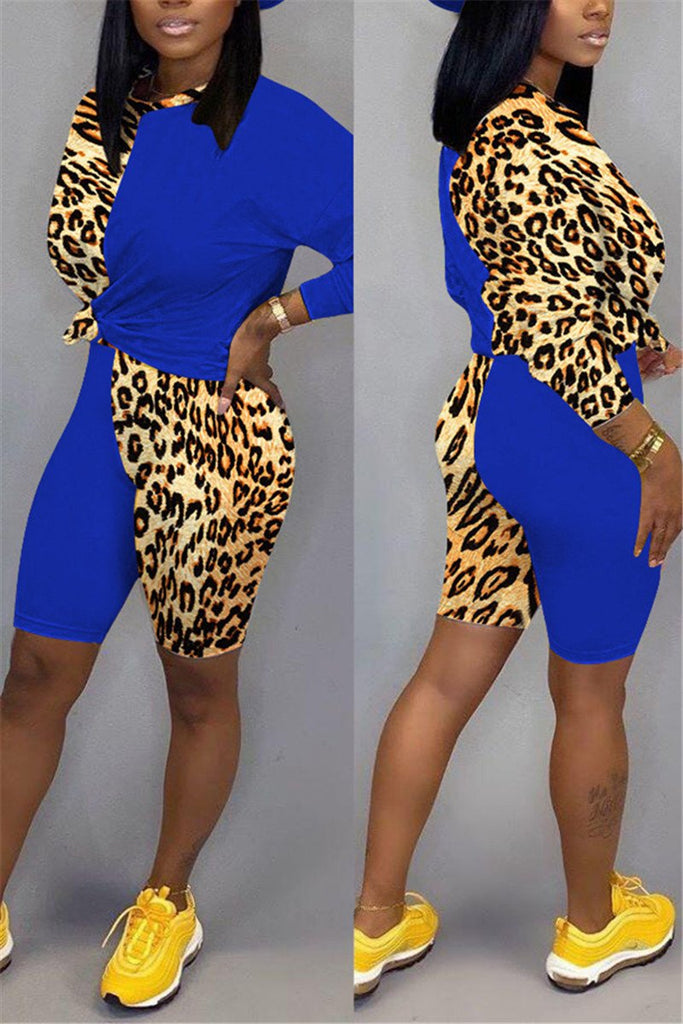 Plus Size Leopard Patchwork Casual Two Piece Sets