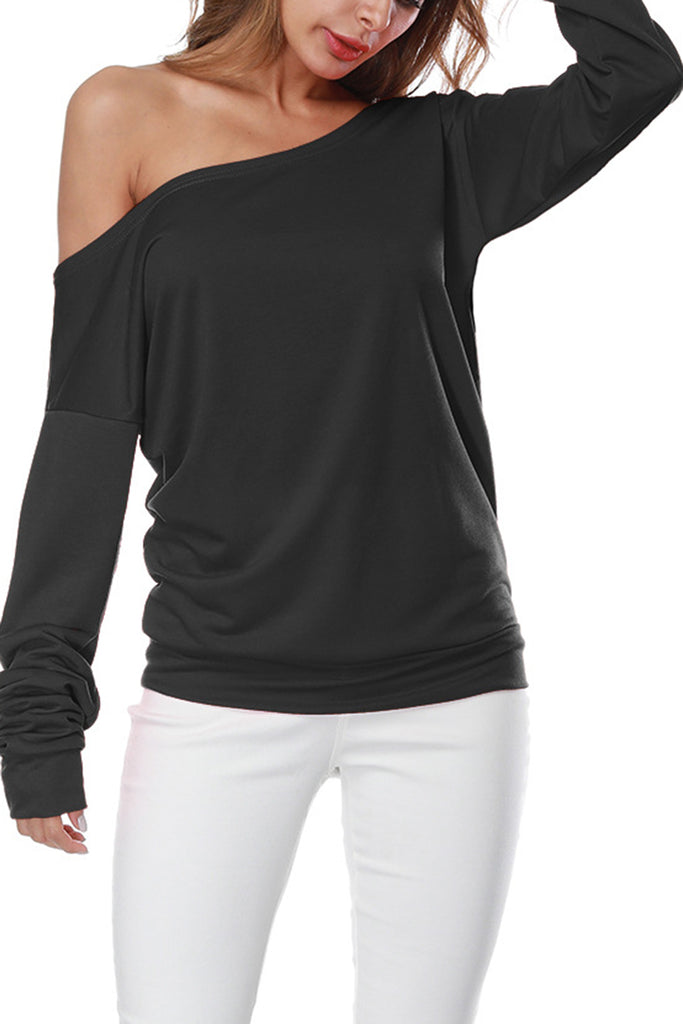 Off the Shoulder Solid Color Casual Top