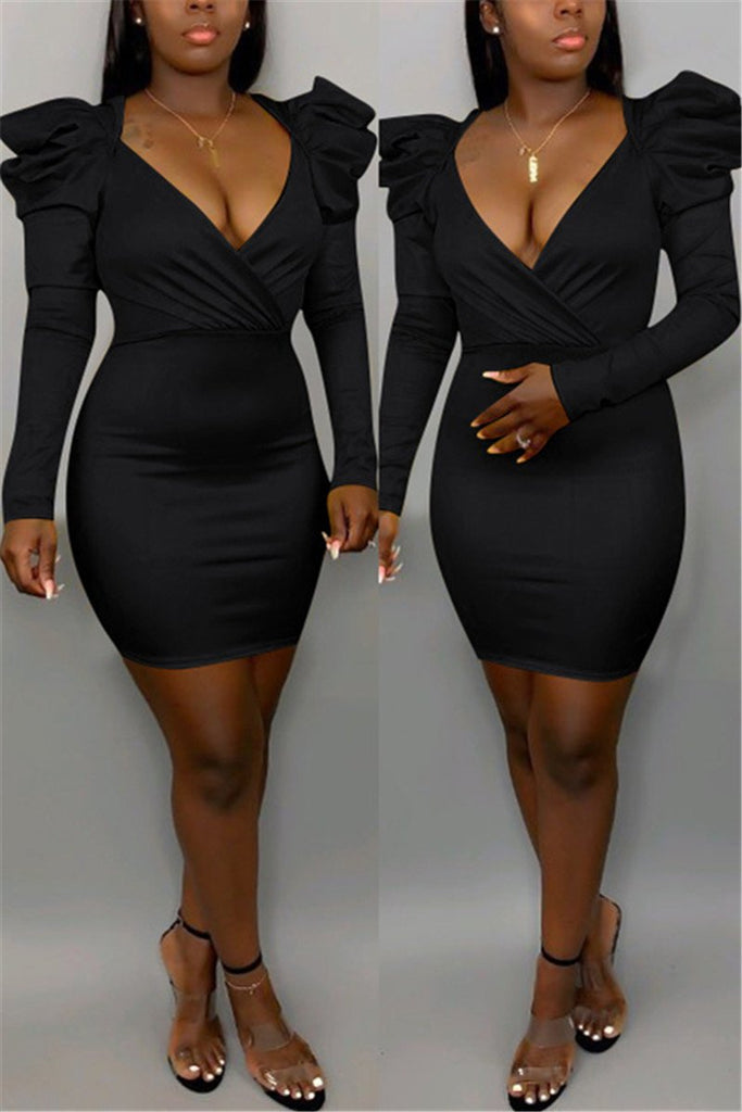 Puff Sleeve Plus Size PU Leather Dress