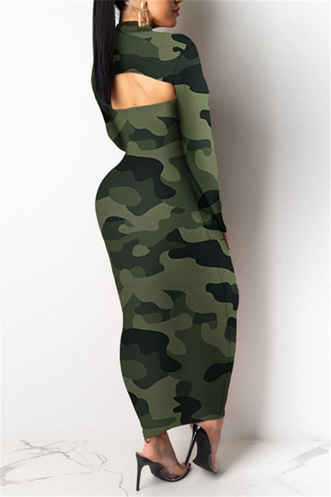 Leopard & Camouflage Strapless Dress With Long Sleeve Top