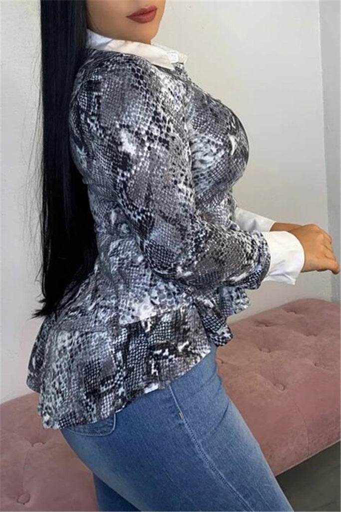 Snake Print Long Sleeve Ruffled Top