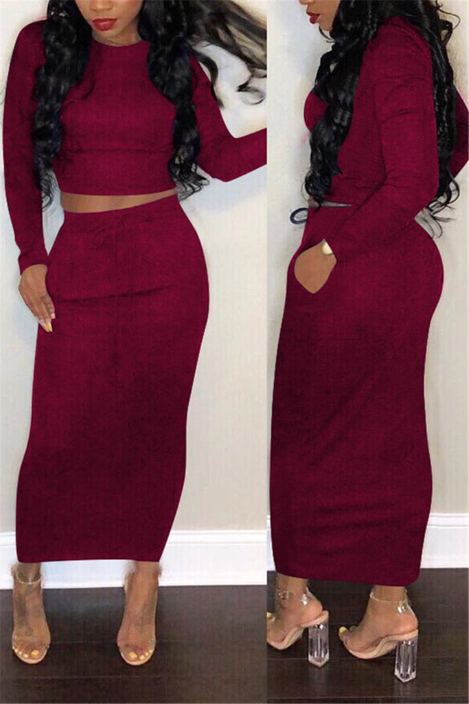 Plus Size Solid Color Pocket Two Piece Dress