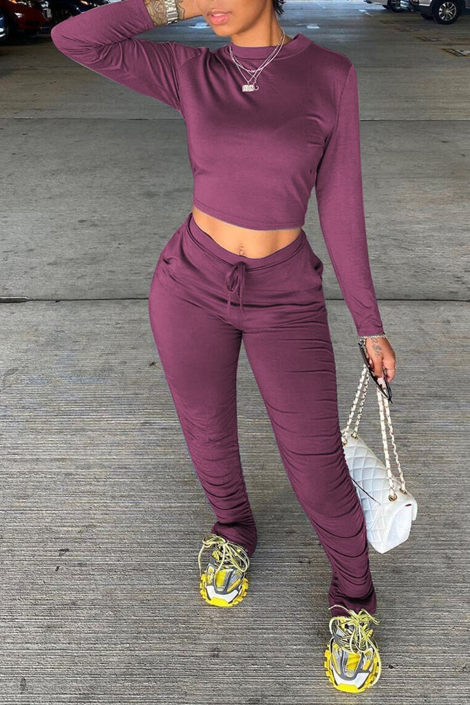 Drawstring Waist Solid Color Top & Pants