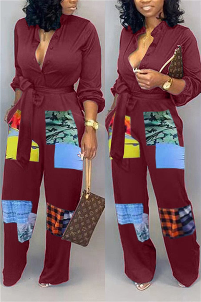 Button Up Patchwork Belted Jumpsuit