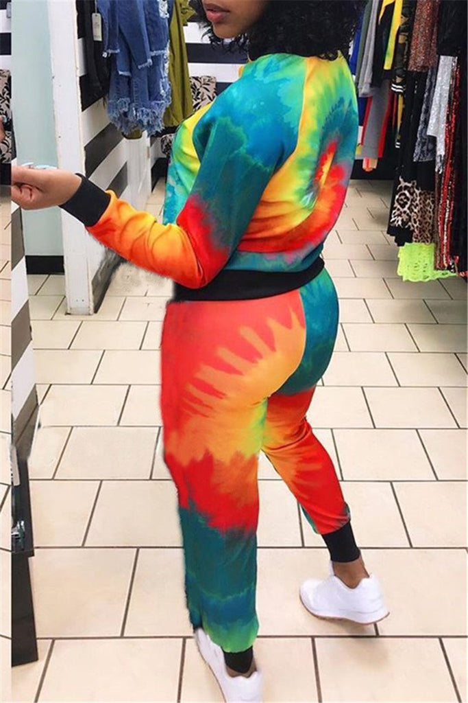 Tie Dye Print Zip Up Casual Two Piece Sets