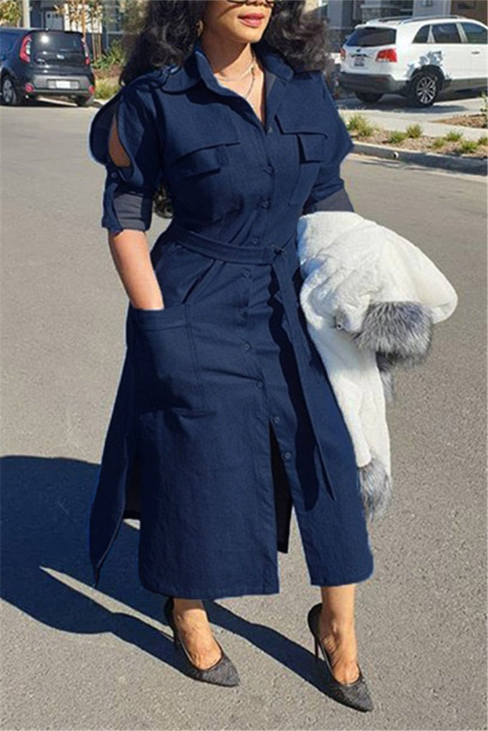 Split Sleeve Button Up Pocket Denim Dress