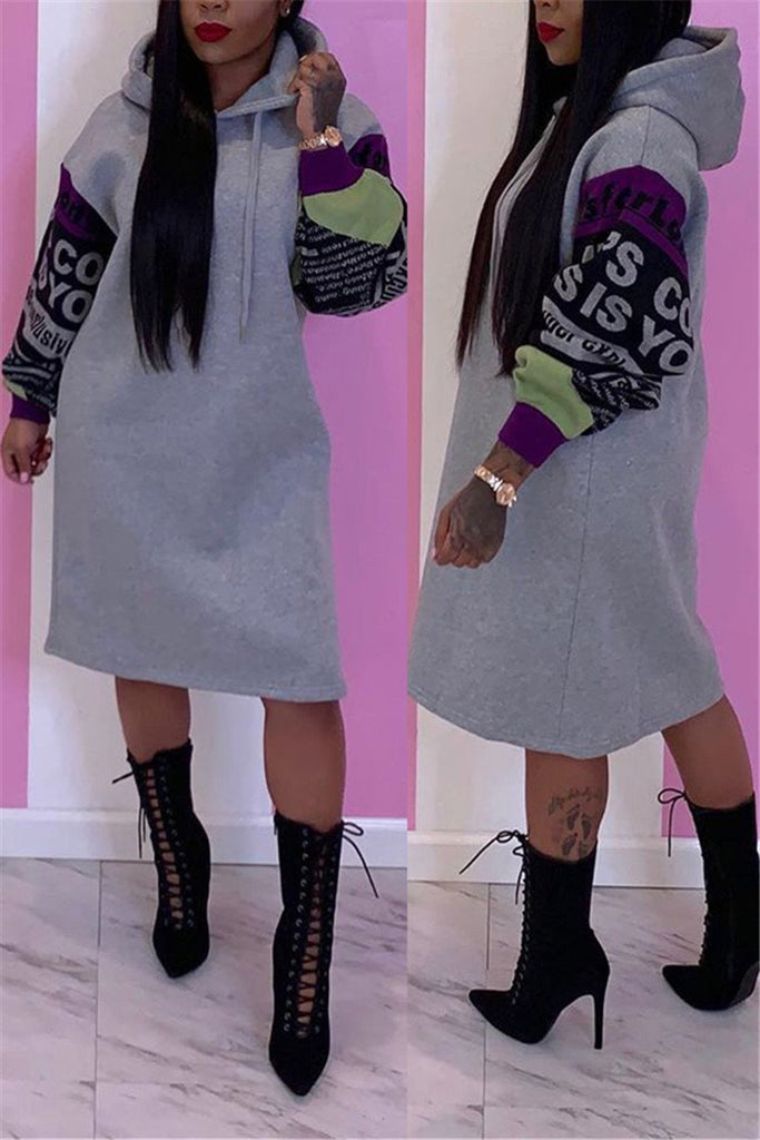 Letter Print Hooded Collar Casual Dress