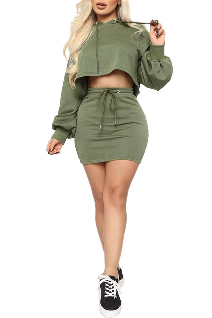 Solid Color Drawstring Waist Hooded Two Piece Dress