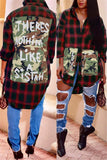 Tartan Plaid Patchwork Asymmetric Shirt