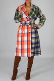 Plaid Print Color Patchwork Wide Lapel Coat