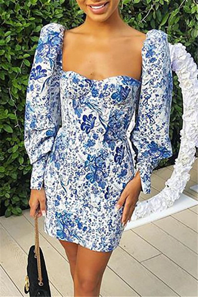 Porcelain Print Puff Sleeve Mini Dress