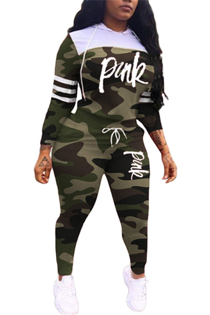 Camouflage & Letter Print Hooded Top & Pants