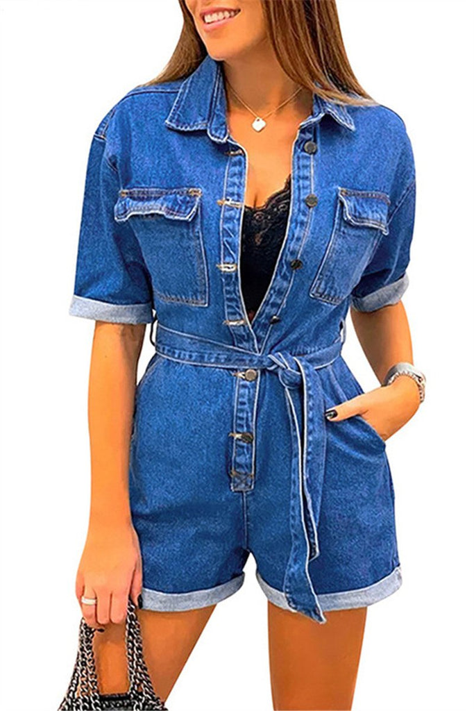 Button Up Short Sleeve Denim Romper With Belt