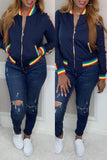 Rainbow Striped Pocket Zipper Jacket