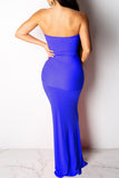 Solid Color Strapless Open Back Bandage Maxi Dress
