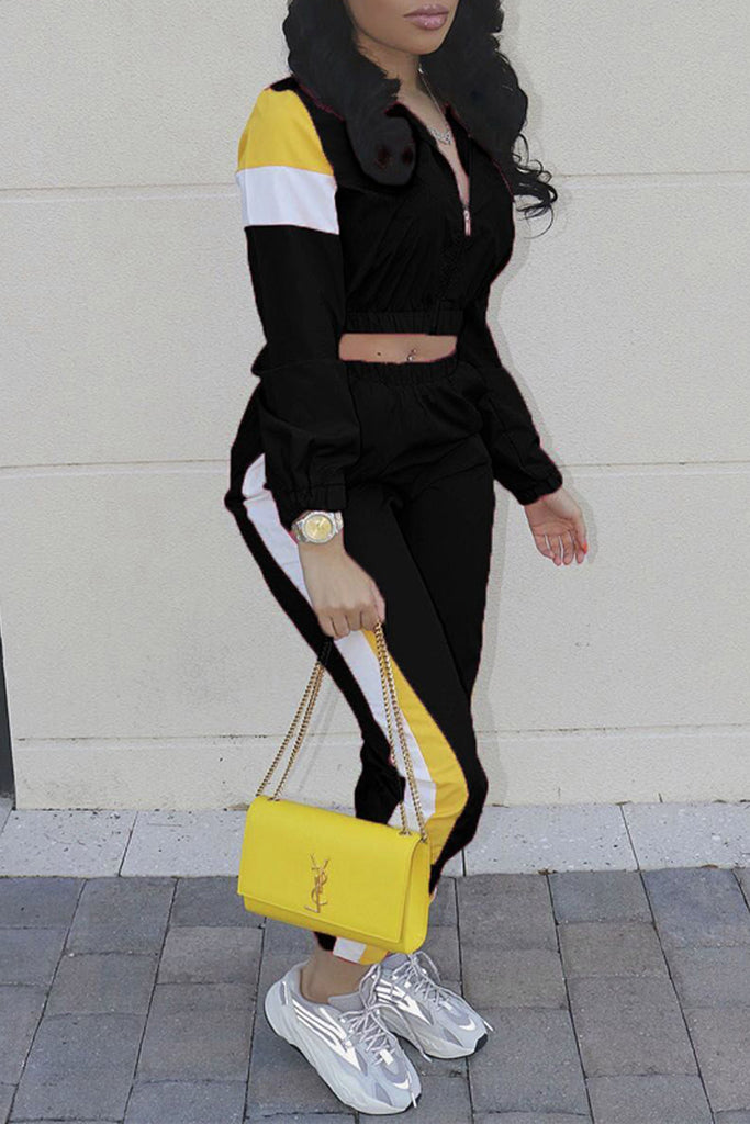 Color Block Casual Long Sleeve Two Piece Sets