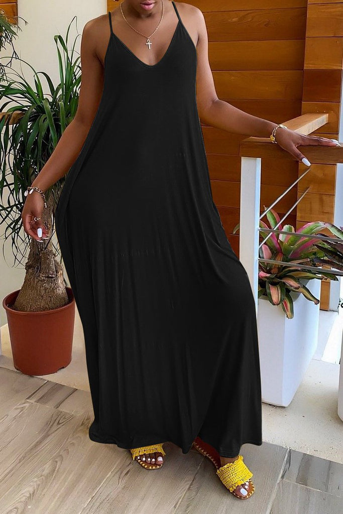 Solid Casual V-neck Sleeveless Open Back Maxi Dress