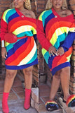 Rainbow Striped V-neck Mini Dress