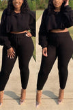 Batwing Sleeve Solid Drawstring Two Piece Sets