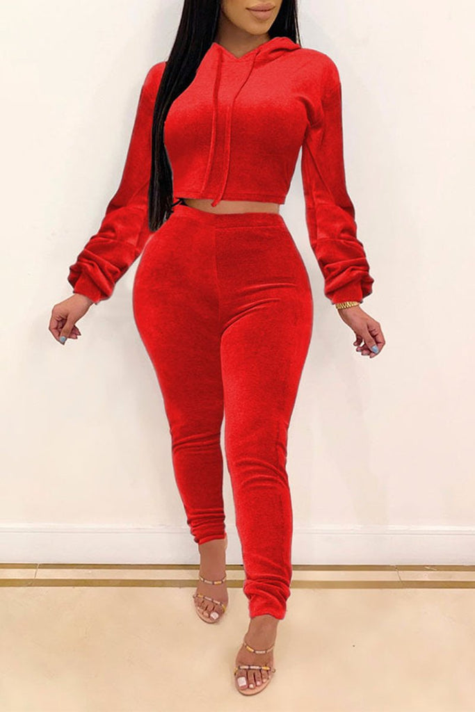 Solid Color Hooded Collar Two Piece Sets