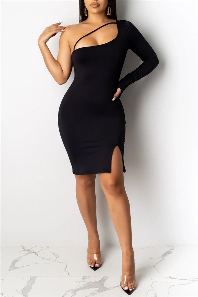 One Sleeve Solid Color Sexy Dress