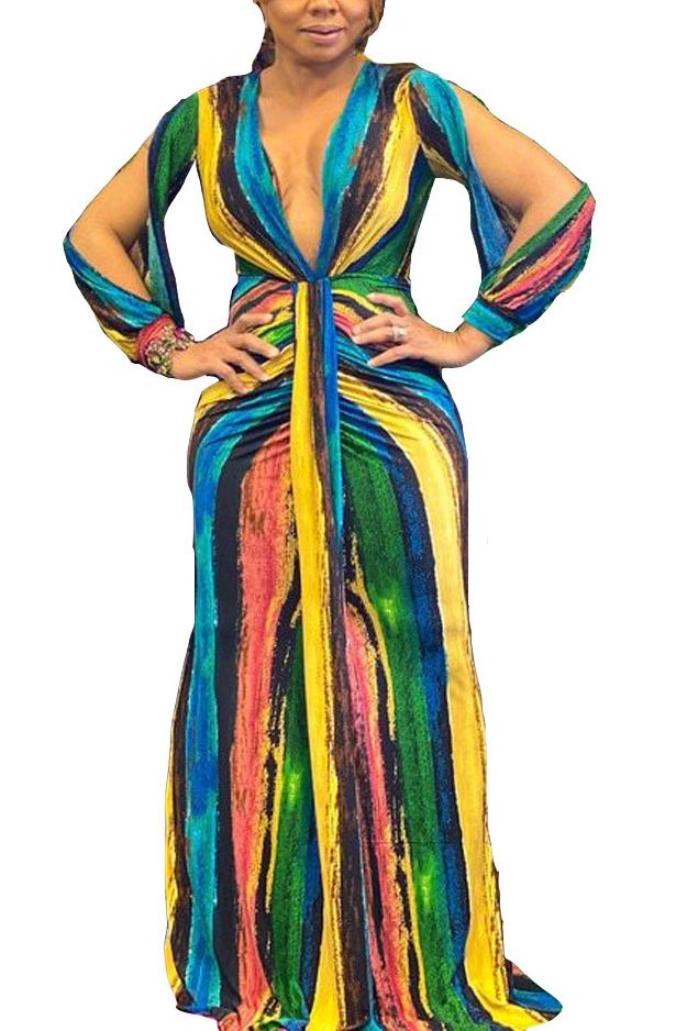 Split Sleeve Colorful Stripe V Neck Maxi Dress
