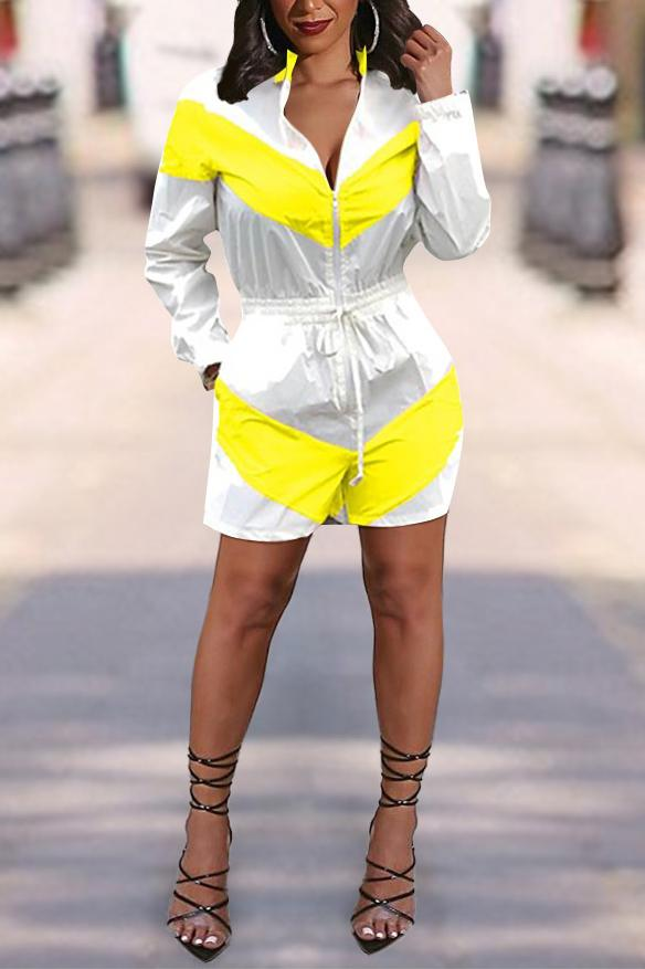 Color Patchwork Zip Up Drawstring Romper