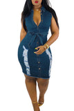 Distressed Denim Button Sleeveless Mini Dress With Belt