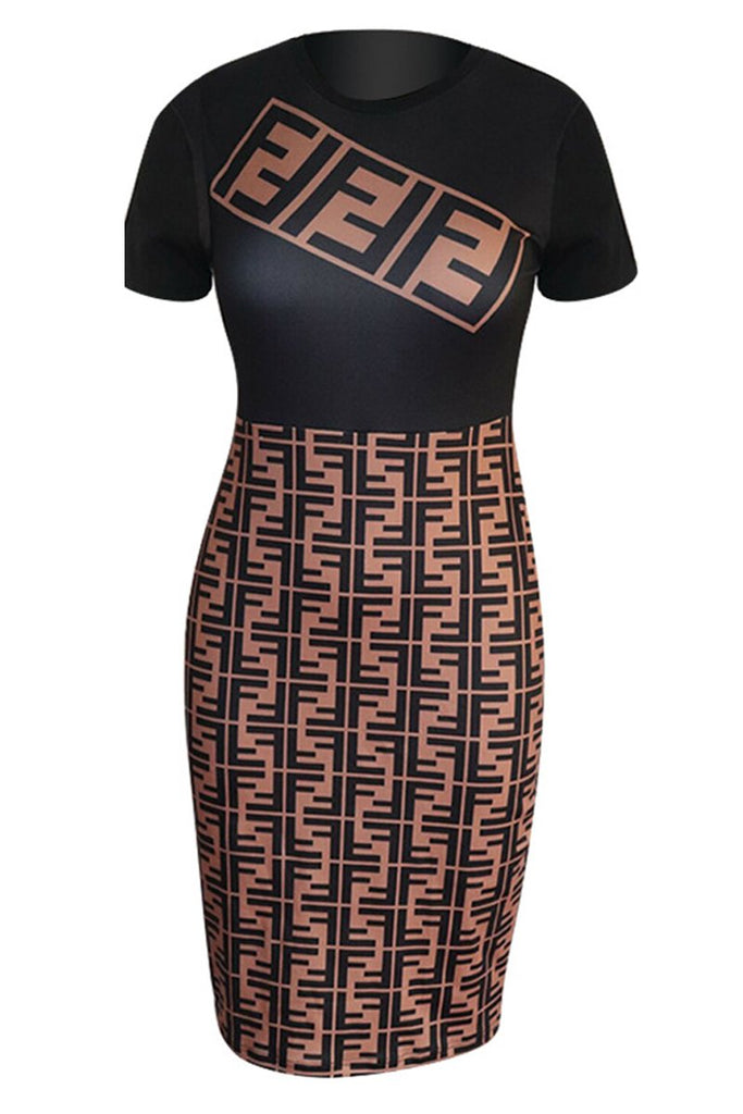 Casual Round Neck Letter Print Short Sleeve Midi Dress