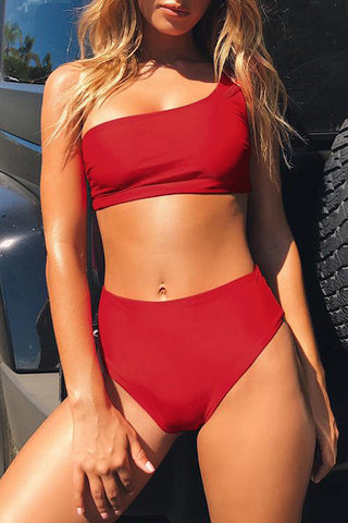 High Waist V-neck Printing Two Piece Swimwear