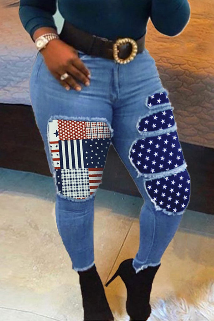 Patchwork Denim Plus Size Jeans Without Belt