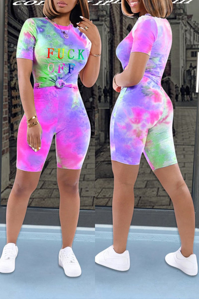 Colorful Tie Dye Letter Print Two Piece Sets