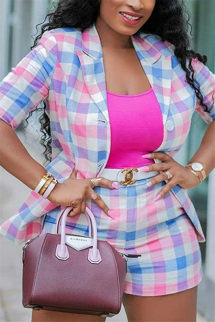 Tartan Plaid Turndown Collar Blazer & Shorts