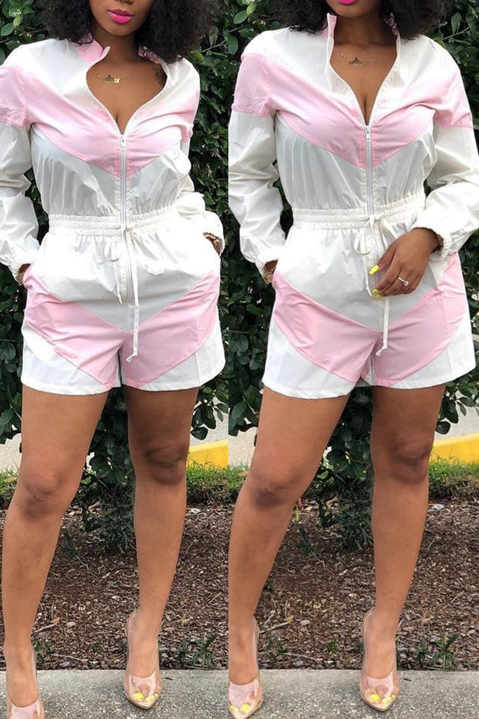 Color Patchwork Zipper Pocket Casual Romper