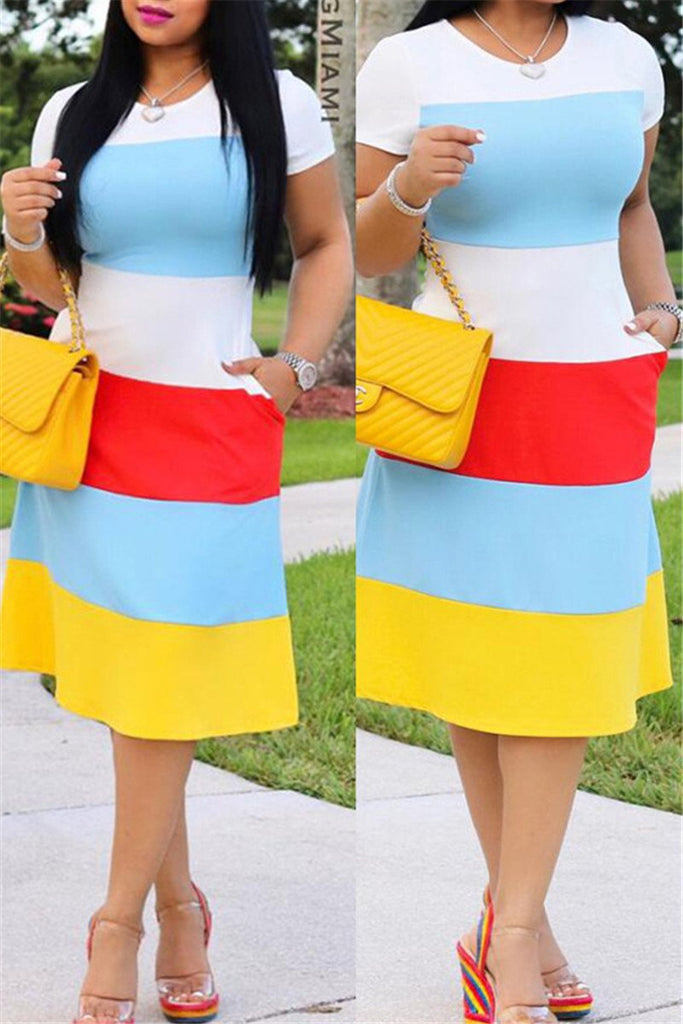 Color Block Short Sleeve Pocket Dress