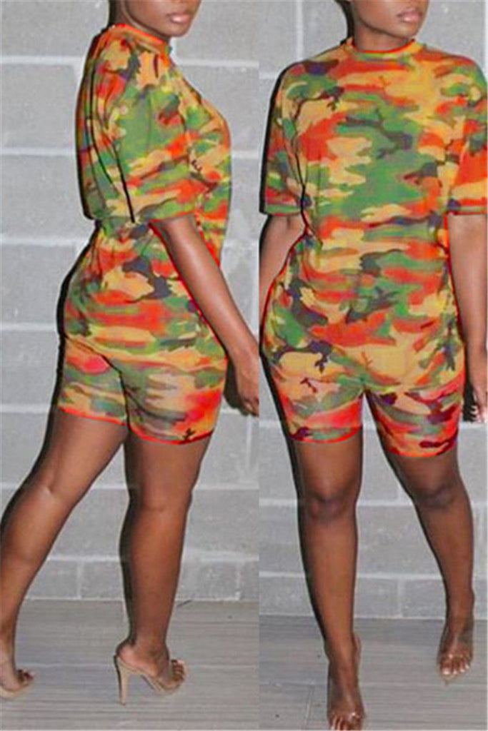 Camouflage Print Short Sleeve Casual Two Piece Sets