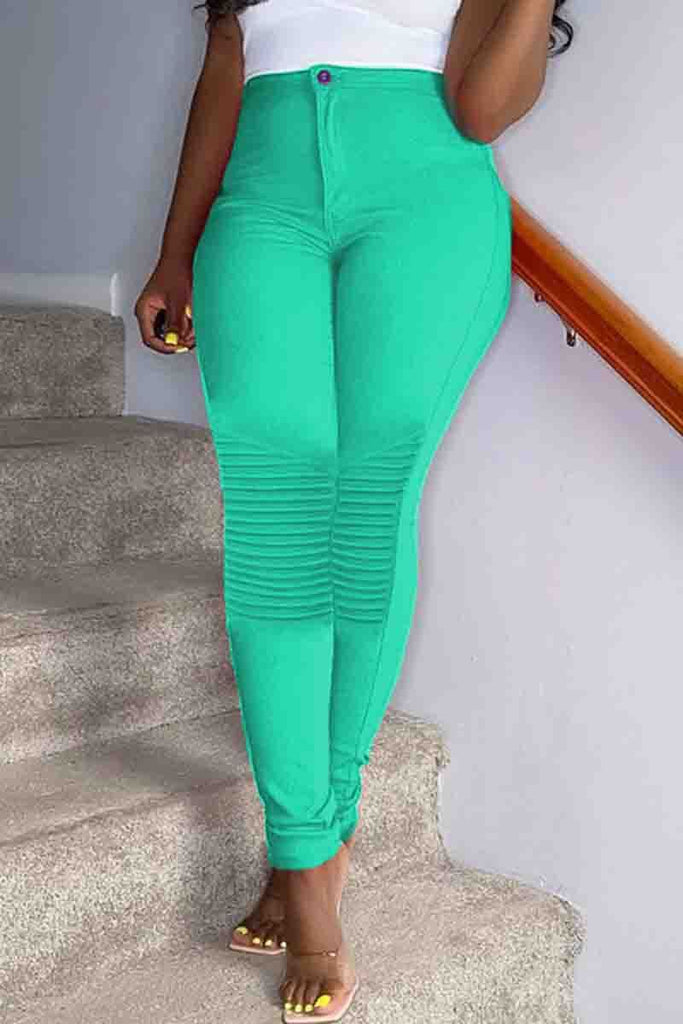 Solid Color High Waist Bodycon Pants