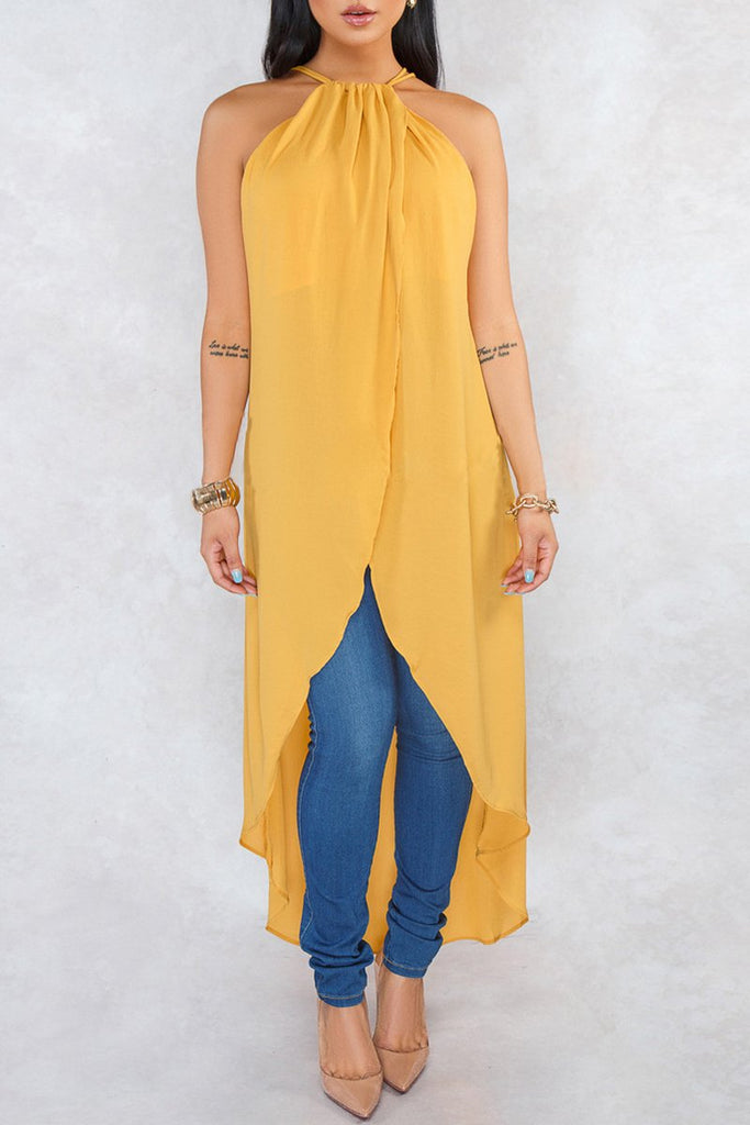 Halter Neck Solid Chiffon Asymmetric Hem Sleeveless Blouse